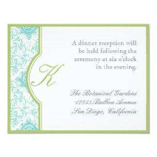 Aqua Blue Toile Quatrefoil - Reception Invitation