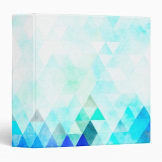 Aqua Blue Triangles Watercolor 3 Ring Binder
