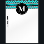 "Aqua Blue Tribal Chevron Pattern Monogram Dry-Erase Board<br><div class=""desc"">A chic,  girly,  trendy,  modern geometric pattern consisting of triangle shapes and chevron zigzag prints in an aqua blue,  black and white color palette with a monogram initial letter template.  This cool monogrammed graphic is inspired by Aztec prints and tribal patterns.</div>"