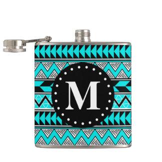 Aqua Blue Tribal Chevron Pattern Monogram Hip Flask