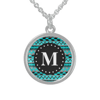 Aqua Blue Tribal Chevron Pattern Monogram Sterling Silver Necklace