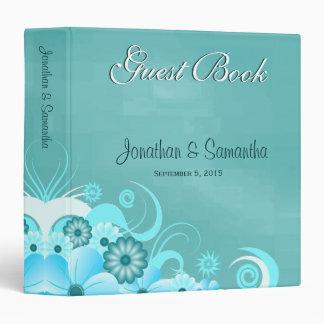 "Aqua Blue Turquoise Floral 1.5"" Wedding Guest Book 3 Ring Binder"