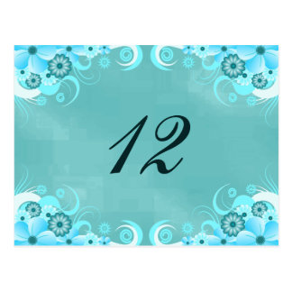 Aqua Blue Turquoise Floral Table Number Cards