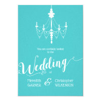 Aqua Blue Vintage Chandelier Wedding Invitation
