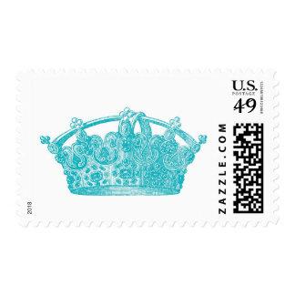 Aqua Blue Vintage Crown A004 Stamp