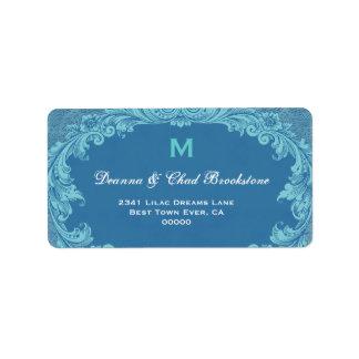 Aqua Blue Vintage Curlicue Wedding Monogram G452 Label