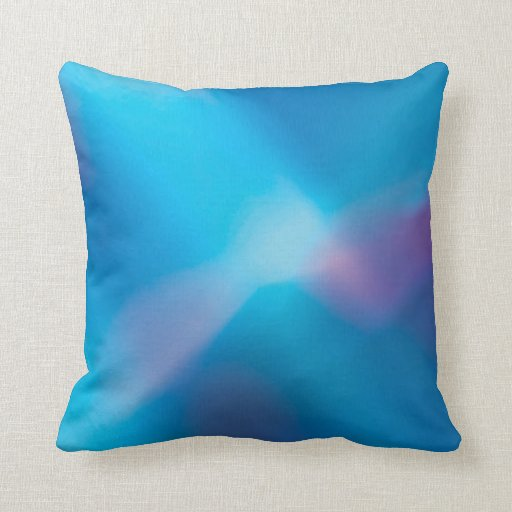 Aqua Blue Violet Glowing Light #1 Abstract Throw Pillow