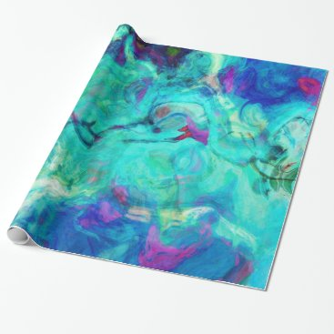 Beach Themed Aqua Blue Water Abstract Wrapping Paper
