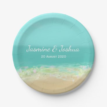 weddingbouquet Aqua blue water/painted beach seashore paper plate