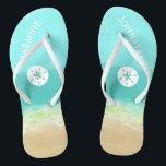 "Aqua blue water/painted beach seashore personalize flip flops<br><div class=""desc"">Aqua blue water/painted beach seashore personalize with your own name</div>"