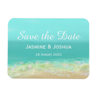 Aqua blue water/painted beach seashore personalize magnet