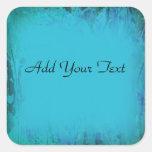 Aqua Blue Watercolor Abstract Square Sticker