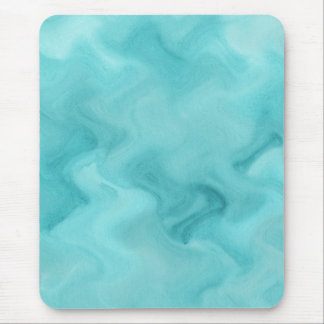 Aqua Blue Watercolor Abstract Waves Pattern Mouse Pad