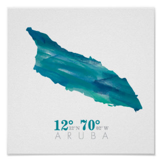 Aqua Blue Watercolor Aruba Map with Coordinates Poster