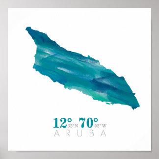 Aqua Blue Watercolor Aruba Map with Coordinates Poster