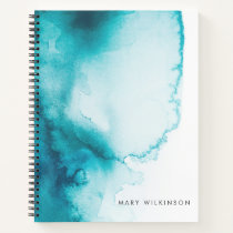 Aqua Blue Watercolor Background Notebook