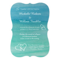 Aqua blue watercolor beach wedding invitations