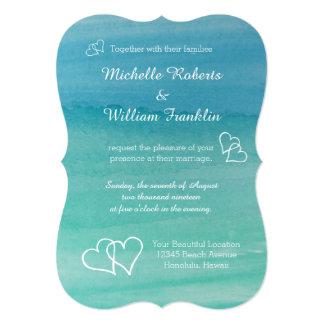 Aqua blue watercolor beach wedding invitations