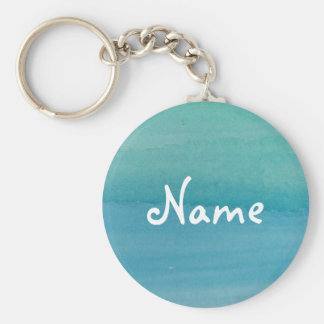 Aqua blue watercolor keychain with custom name
