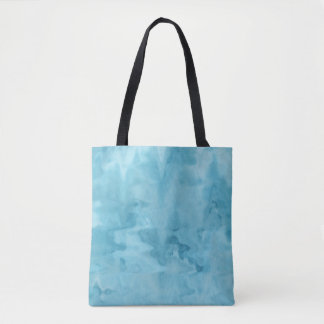 Aqua Blue Watercolor Marble Abstract Pattern Tote Bag