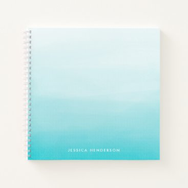 Aqua Blue Watercolor Ombre Modern Personalized Notebook