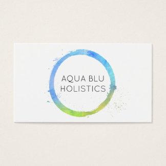 Aqua Blue Watercolor Painted Circle Logo Business Card