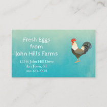 Aqua Blue Watercolor Rooster Silhouette Chevron Business Card