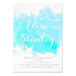 Aqua blue watercolor, starfish beach wedding card