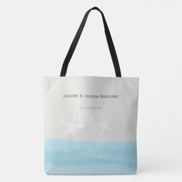 weddingbouquet Aqua blue watercolor starfish  beach wedding tote bag