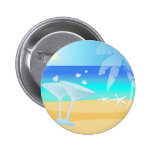 Aqua Blue Waters. Sunny Day by the Beach Pinback Button
