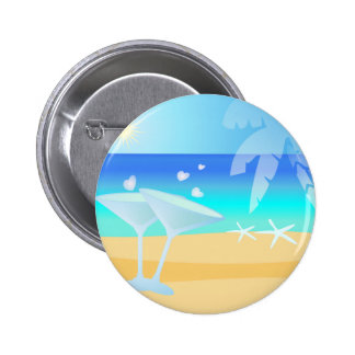 Aqua Blue Waters. Sunny Day by the Beach Button