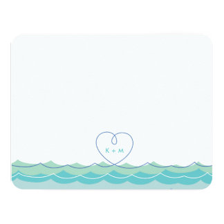 Aqua Blue Waves Loopy Heart Wedding Thank You Card