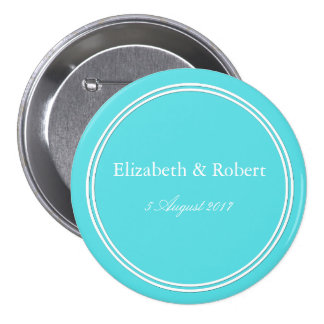 Aqua Blue Wedding Button
