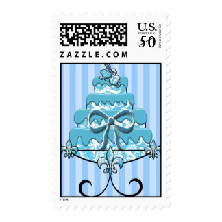 Aqua Blue Wedding Cake Postage