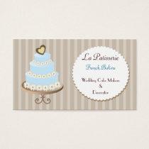 aqua blue  Wedding Cakemakers business Cards
