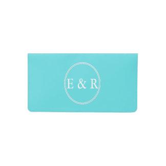 Aqua Blue Wedding Checkbook Cover