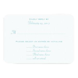 Aqua Blue Wedding Entree Menu RSVP Enclosure Card