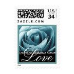 Aqua Blue Wedding LOVE Rose Stamp