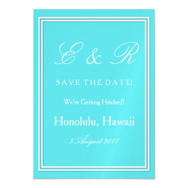 Beach Themed Aqua Blue Wedding Magnetic Card