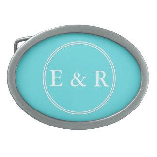 Aqua Blue Wedding Oval Belt Buckle