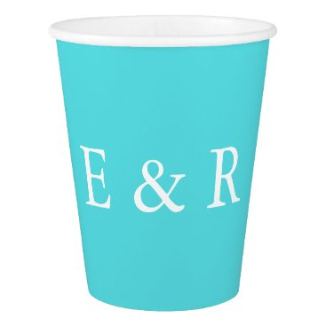 Beach Themed Aqua Blue Wedding Paper Cup