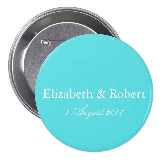 Aqua Blue Wedding Pinback Button