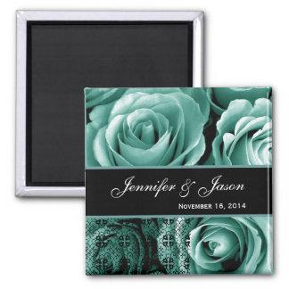 Aqua Blue Wedding Rose Bouquet with Lace Magnet