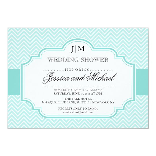 Aqua Blue Wedding Shower Invitations
