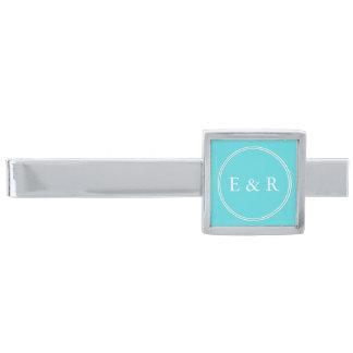 Aqua Blue Wedding Silver Finish Tie Bar