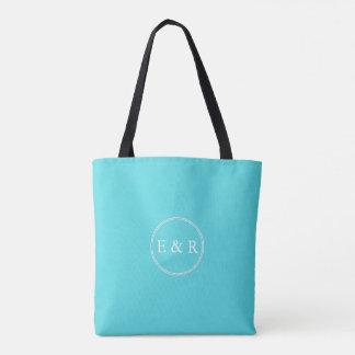 Aqua Blue Wedding Tote Bag