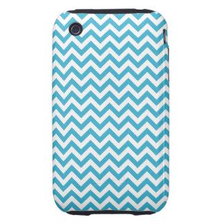 Aqua Blue White Chevron Pattern iPhone 3 Tough Cover