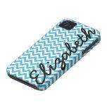 Aqua Blue White Chevron Pattern Case-Mate iPhone 4 Cases