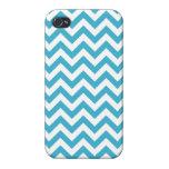 Aqua Blue White Chevron Pattern Cover For iPhone 4
