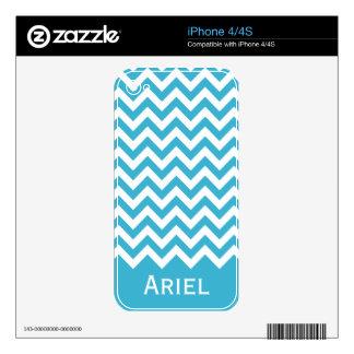 Aqua Blue White Chevron Pattern Decal For iPhone 4S